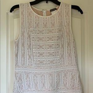 Vince Camuto white lace sleeveless mini dress